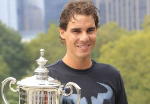 Rafael Nadal holds his trophy for the US Open tennis men's championship in New York City